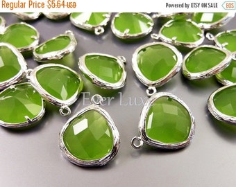 15% OFF 2 green peridot opal glass stone in textured silver bezel setting, jewelry making 5058R-PEO (bright silver, peridot opal, 2 pieces)