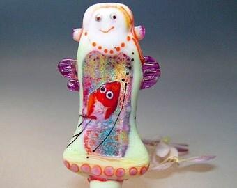 Angel with Birds, Art Doll,Glass by Manuela Wutschke Lampwork, Focal, Glass Jewelry, Artist handmade lampwork glass bead