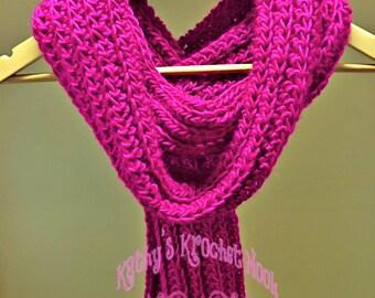 Fuchsia crochet scarf, fuchia scarf, crochet scarf, scarf, neck warmer, chunky scarf, winter wear, cowl