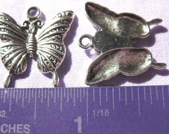 Butterfly charm Tibetan Silver Jewelry Supply 2 pieces