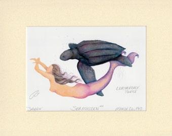 "Mermaid Sarah & Leatherback Turtle Art Signed Robert Kline Matted 11"" x 14"" Print Nautical Gift Beach House Fantasy Home Bathroom Boat Decor"