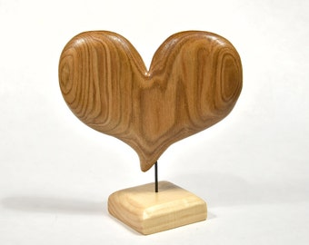 Wife Gift, 5th Anniversary Heart Wood Carving, Wood Sculpture, Christmas Gift For Mom, Home Decor, I Love You Art, Woodworking