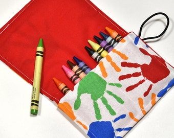 Crayon Holder Christmas Stocking Stuffer Crayon Roll, Children Party Favors, Travel Rollup Wrap, Party Supplies Christmas Gift