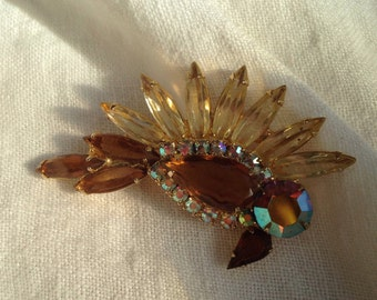 Juliana Soaring Bird Brooch Shades of Topaz Rhinestone