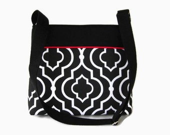 Black Canvas Fabric Cross Body Bag Purse - Black and White Messenger Bag - Canvas Shoulder Bag Purse - Black Handbag - Hobo  Bag