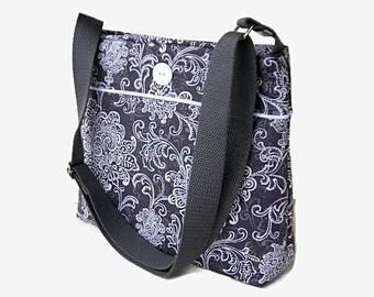 Gray Fabric Crossbody Bag Purse - Gray Messenger Bag - Adjustable Strap - Shoulder Bag - Hobo Purse - Medium Cross Body Bag - Gray Handbag