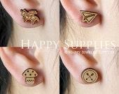 4pcs Mini (SMN13-16) DIY Laser Cut Wooden Earring Charms - SWC Series