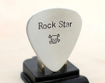 Rock Star and Skull Stamps Aluminum Guitar Pick for a Bad Ass Guitarist - GP967