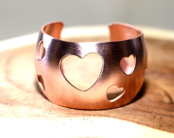 Artisan Copper Cuff Bracelet with Synclastic Form and Heart Cut Outs - BR808