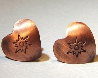 copper heart stud earrings with sunburst  - ER2095