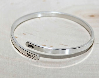 Silver Adjustable Bangle with I Love You or your own Personalizations - 925 BNGL11