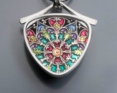 Ivy Woodrose sterling silver, pmc and colored resin pendant