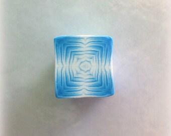 Polymer Clay Kaleidoscope Cane White, Turquoise No. 2358