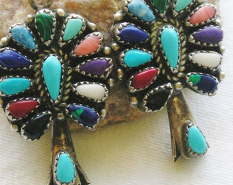 Southwest Sterling Silver Turquoise Multi-Stone Cluster Squash Blossom Earrings