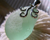Authentic Sea Glass in Sea Foam Green with Sterling Octopus Bail