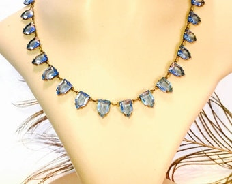 Fall into Vintage SALE Beautiful Art Deco Blue Open back Geometric Pyramid Czech Crystal Vintage Necklace Art Deco Jewelry