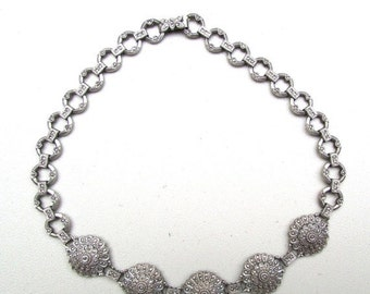 Fall into Vintage SALE Beautiful RARE Art Deco Ornate  Sterling Silver Marcasite Chocker Vintage Necklace Art Deco Jewelry