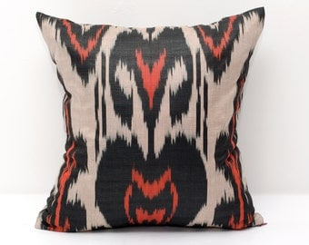 15x15 coral black beige ikat pillow cover, coral pillows, coral black ikats, coral, decorative pillow, throw pillow, accent pillow