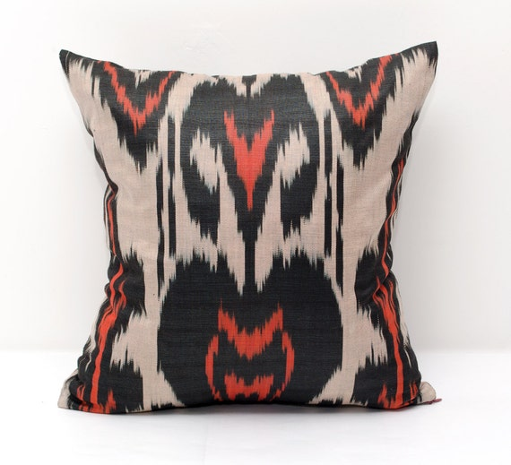 Dark Coral Throw Pillows : 15x15 coral black beige ikat pillow cover coral pillows