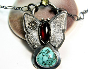 Turquoise Butterfly Neckace, Natural Gemstone Pendant, Sterling Silver Hand Forged Jewelry
