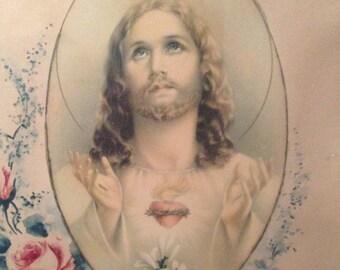 vintage Catholic House Blessing. Framed religious art print. Sacred Heart of Jesus, Shabby floral pink roses. Farmhouse, Cottage decor.
