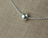 Sterling silver bead necklace, layering necklace, simple, minimalist necklace, single bead, sterling silver bead, silver bead, round bead