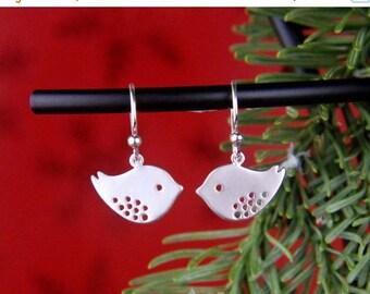 SALE 15% OFF Silver bird charms and sterling silver earrings, modern charms, lovebird earrings, bird jewelry, bird earrings