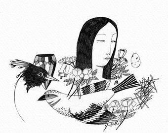 PRINT girl with birds
