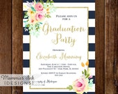 Watercolor Flowers Graduation Party Invitation, Navy and White Stripes Invitation, Pink and Peach Flowers, Class of 2016 Invite, Open House