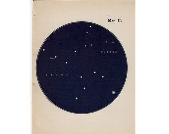 1910 mini constellation figures original antique celestial astronomy print -  map 11