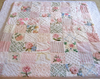 Pink Roses Bouquet Vintage Chenille Quilt / Throw - Boutique quality handmade vintage chenille large throw.