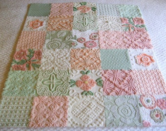 "Ready to Ship - Gelato - Boutique Quality Vintage Chenille Baby Quilt - 38"" x 45"""