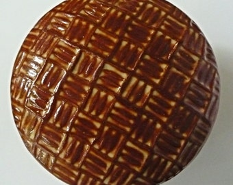 Lidded Jar Rusty Brown  Hand Carved Jewelry  Box One or a Kind Plaid Design