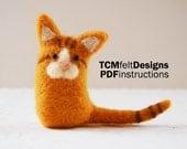 PDF Needle Felting Kitty instructions, wool DIY fiber instructions for beginners