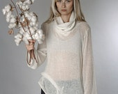 Winter Sale 15% Off!!! Ivory White light knitted sweater , XL collar, loose fit