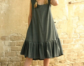 Last SALE 40% Dark grey oversize dress , pleats dress, light wool and silk blended stripes dress - extravagant gray dress