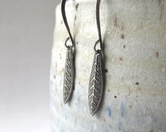 Little Leaf Earrings - Tiny Leaves in Antique Silver
