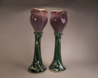 Romantic Fantasy Flower Wine Goblet, Mauve Purple Flower on Green Stem, Weddings, Anniversaries, Gifts, Dinnerware,  Renaissance Costuming