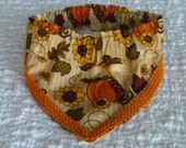 "Dog Bandana, Thanksgiving Dog Scrunchie, Harvest Bounty Fancy Bandanchy with orange gimp trim - Size M: 14"" to 16"" neck"
