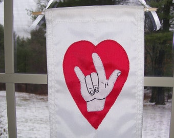 Mini American Sign Language I Love You Banner/Flag