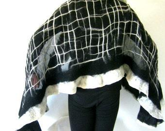 Nuno Felted Scarf, Ruffled Wavy, Black White, Silk Merino Wool Felted Wrap