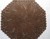 Dark Brown Doily-9.25 inch Doily-Fudge Brown Doily-Hand Crocheted Cotton Doily-Cindy's Loft