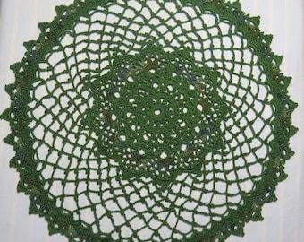 Green Doily-13 inch Doily-Egyptian Cotton Doily-Variegated Doily-Hand Crocheted Doily- Cindy's Loft