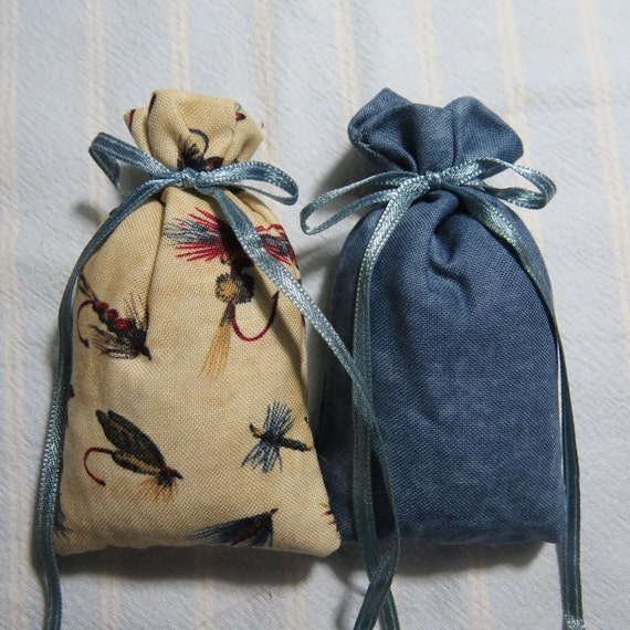 "Blue 3""X2"" Sachet-'Drakker(type) Fragrance-Ivory Sachet-Masculine Father's Day Fishing Sachet-Cotton Fabric-Blue Ribbon-Cindy's Loft-620"