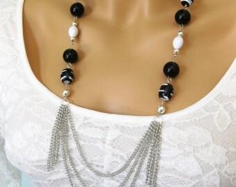 Multi Strand Necklace, Multi Strand Layered Necklace, Long Black Necklace, Black Beaded Necklace, Beaded Necklace, Black Necklace,  N824