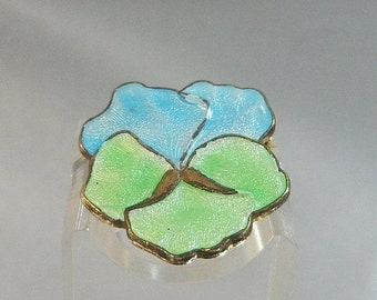 FALL SALE Vintage Pansy Brooch. Baby Blue. Mint Green. Guilloche