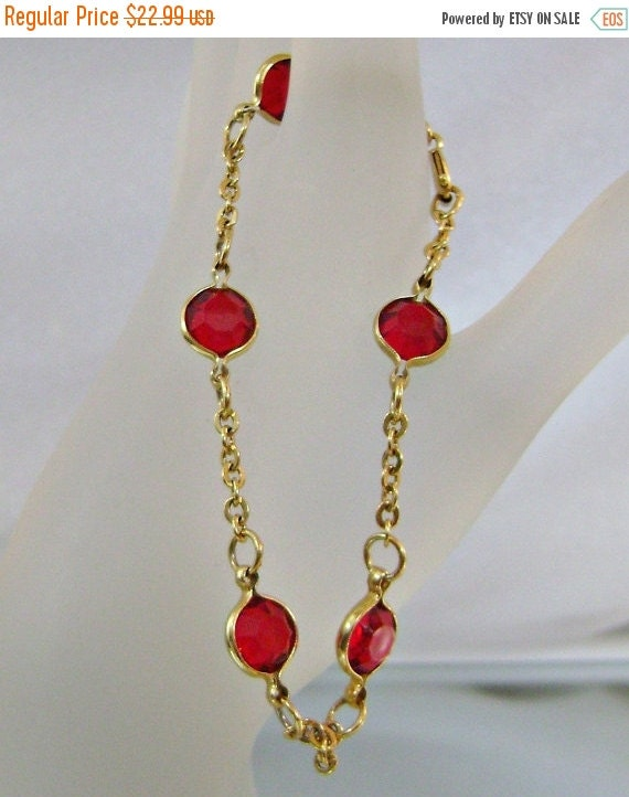 SALE Vintage Bracelet Gold Link and Red Crystal Bezel