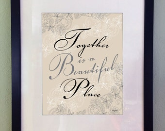 Wedding Marriage Couple Art Print, Inspirational Art Quote, Typography, Digital Download, Printable Art