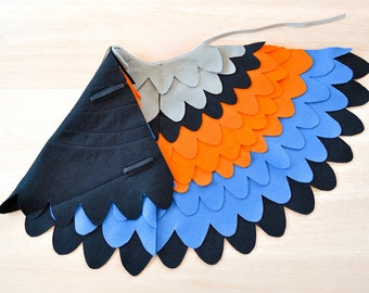 Kids Fancy Dressing up Costume Wings, Colorful Bird Wing Cape for Halloween, Childrens Bird Wings, Girls and Boys, Toddlers