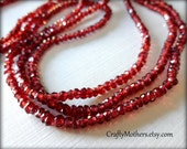 AAA Mozambique Brick Red Garnet Faceted Rondelles, 3mm, 1/4 strand (3.25 inches long), rare gemstones, jewelry supplies